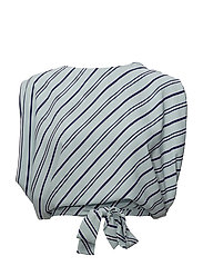Striped bow blouse - MEDIUM BLUE