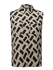Geometric-print blouse - BLACK