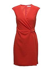Wrap neckline dress - RED