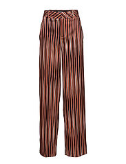 Satin striped trousers - ORANGE
