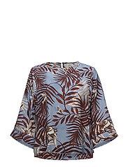 Contrasting print blouse - GREY