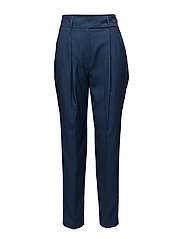 High-waist trousers - MEDIUM BLUE