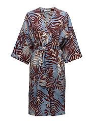 Leaf print dress - GREY