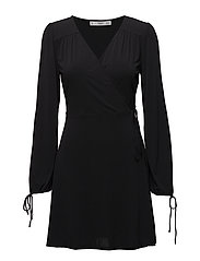 Wrap neckline dress - BLACK