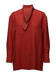 Contrast seam bow blouse - RED