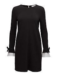 Contrast sleeve dress - BLACK