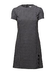 Buttoned check dress - MEDIUM BLUE