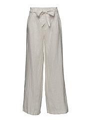 Linen high-waist trousers - NATURAL WHITE
