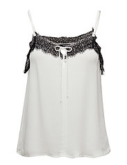 Lace trim top - NATURAL WHITE