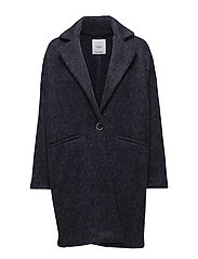 Mohair wool-blend coat - NAVY