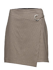 Buckle checked skirt - MEDIUM BROWN