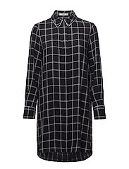 Check shirt dress - NAVY