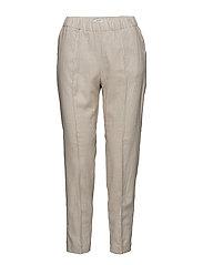 Pocket linen-blend trousers - LT PASTEL BROWN