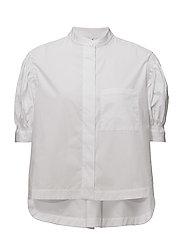Puffed sleeves poplin shirt - WHITE