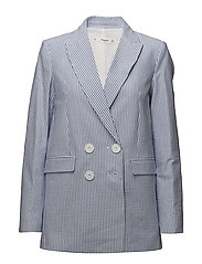 Fine-stripe suit blazer - WHITE