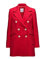 Contrast buttons coat - RED