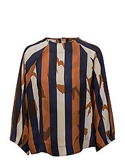 Contrasting print blouse - NAVY