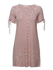 Stripe textured dress - NATURAL WHITE