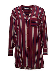 Oversize striped blouse - DARK RED