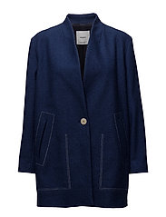 Contrast seam coat - MEDIUM BLUE