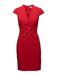 Wrap neckline dress - RED