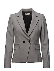 Houndstooth wool-blend blazer - NAVY