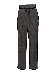 Check pleated trousers - BLACK
