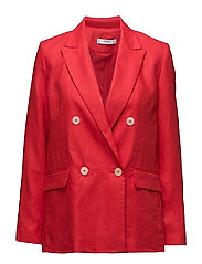 Structured linen jacket - RED