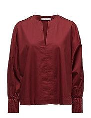 Puffed sleeves blouse - DARK RED