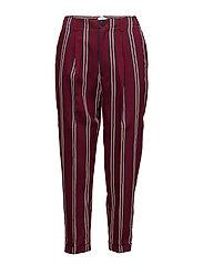 Striped crop trousers - DARK RED