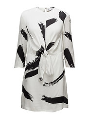 Contrast print dress - NATURAL WHITE