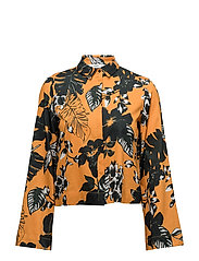 Flowered printed crop shirt - YELLOW