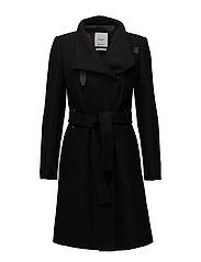 Belted wool coat - BLACK