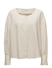 Button linen-blend blouse - LIGHT BEIGE