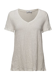 Flecked linen-blend t-shirt - NATURAL WHITE