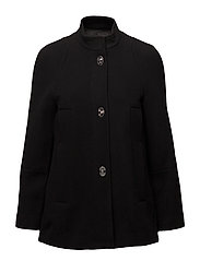 Unstructured wool-blend coat - BLACK