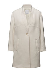Straight pocketed coat - NATURAL WHITE