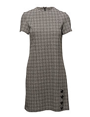 Buttoned check dress - GREY