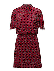 Ruched detail dress - DARK RED