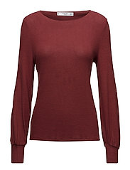 Puffed sleeves sweater - DARK RED