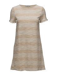 Stripe textured dress - LIGHT BEIGE