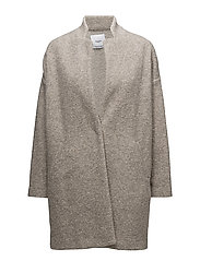 Textured cocoon coat - LT PASTEL BROWN
