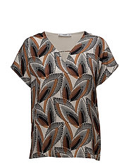 Combined printed T-shirt - BROWN