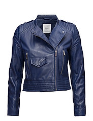 Quilted panels leather jacket - MEDIUM BLUE