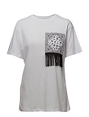 Fringe cotton t-shirt - NATURAL WHITE