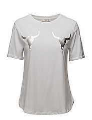 Metallic detail t-shirt - WHITE