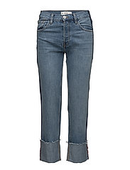 Turn-up hem straight jeans - OPEN BLUE