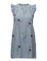 Floral embroidery dress - OPEN BLUE