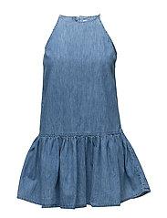 Frilled denim dress - OPEN BLUE