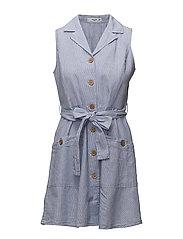 Detachable belt dress - LT-PASTEL BLUE